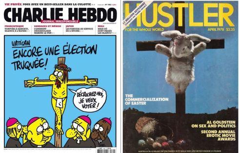 la copertina di Charlie Hebdo del 13 marzo 2013 e quella di Hustler dell'aprile 1978